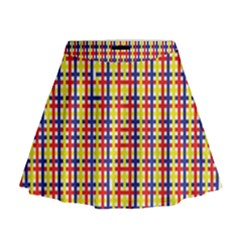 Yellow Blue Red Lines Color Pattern Mini Flare Skirt
