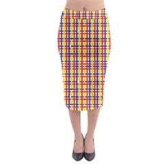 Yellow Blue Red Lines Color Pattern Midi Pencil Skirt
