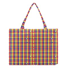 Yellow Blue Red Lines Color Pattern Medium Tote Bag