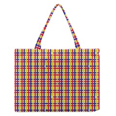 Yellow Blue Red Lines Color Pattern Medium Zipper Tote Bag