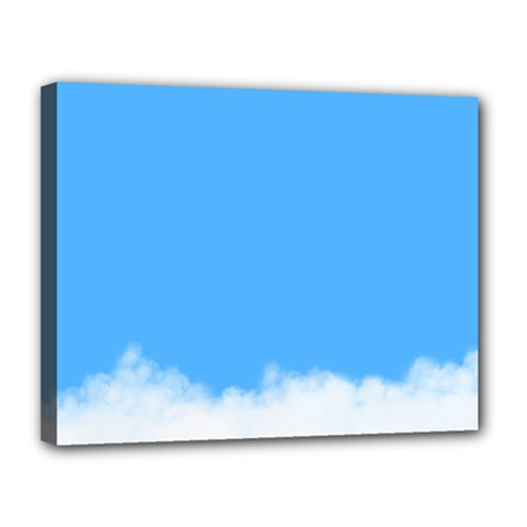 Blue Sky Clouds Day Canvas 14  x 11
