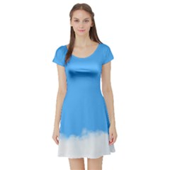 Blue Sky Clouds Day Short Sleeve Skater Dress