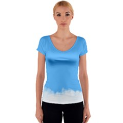 Blue Sky Clouds Day Women s V-Neck Cap Sleeve Top