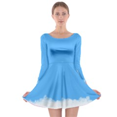 Blue Sky Clouds Day Long Sleeve Skater Dress