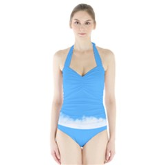Blue Sky Clouds Day Halter Swimsuit