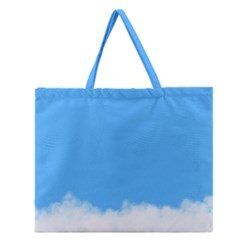 Blue Sky Clouds Day Zipper Large Tote Bag
