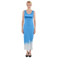 Blue Sky Clouds Day Fitted Maxi Dress