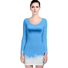 Blue Sky Clouds Day Long Sleeve Velvet Bodycon Dress