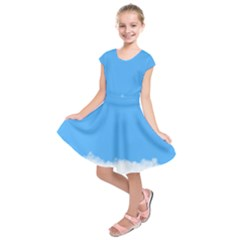 Blue Sky Clouds Day Kids  Short Sleeve Dress