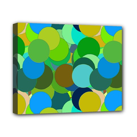 Green Aqua Teal Abstract Circles Canvas 10  x 8