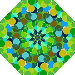 Green Aqua Teal Abstract Circles Folding Umbrellas