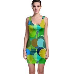 Green Aqua Teal Abstract Circles Sleeveless Bodycon Dress