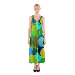 Green Aqua Teal Abstract Circles Sleeveless Maxi Dress