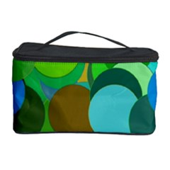 Green Aqua Teal Abstract Circles Cosmetic Storage Case