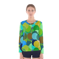 Green Aqua Teal Abstract Circles Women s Long Sleeve Tee