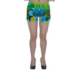 Green Aqua Teal Abstract Circles Skinny Shorts