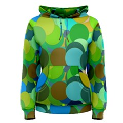 Green Aqua Teal Abstract Circles Women s Pullover Hoodie