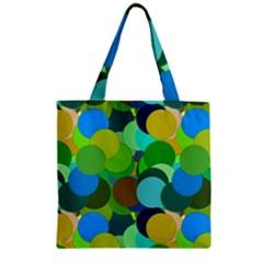 Green Aqua Teal Abstract Circles Zipper Grocery Tote Bag