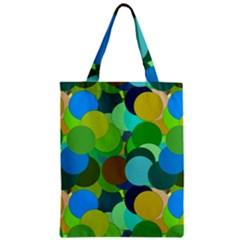 Green Aqua Teal Abstract Circles Zipper Classic Tote Bag