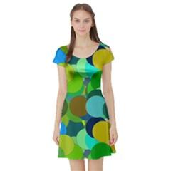 Green Aqua Teal Abstract Circles Short Sleeve Skater Dress