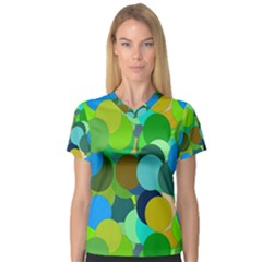 Green Aqua Teal Abstract Circles Women s V-Neck Sport Mesh Tee