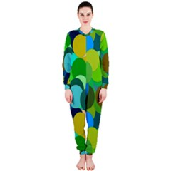 Green Aqua Teal Abstract Circles OnePiece Jumpsuit (Ladies)