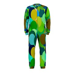 Green Aqua Teal Abstract Circles OnePiece Jumpsuit (Kids)