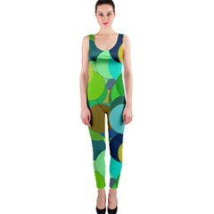 Green Aqua Teal Abstract Circles OnePiece Catsuit