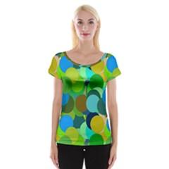 Green Aqua Teal Abstract Circles Women s Cap Sleeve Top