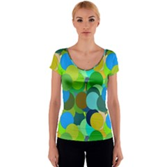 Green Aqua Teal Abstract Circles Women s V-Neck Cap Sleeve Top