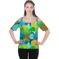Green Aqua Teal Abstract Circles Women s Cutout Shoulder Tee