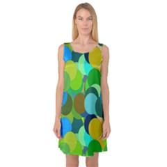 Green Aqua Teal Abstract Circles Sleeveless Satin Nightdress