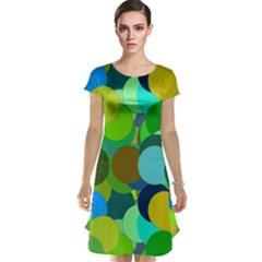 Green Aqua Teal Abstract Circles Cap Sleeve Nightdress