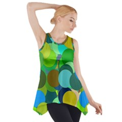 Green Aqua Teal Abstract Circles Side Drop Tank Tunic