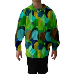 Green Aqua Teal Abstract Circles Hooded Wind Breaker (Kids)