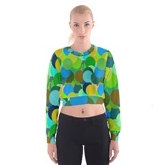 Green Aqua Teal Abstract Circles Women s Cropped Sweatshirt
