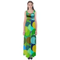 Green Aqua Teal Abstract Circles Empire Waist Maxi Dress
