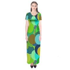 Green Aqua Teal Abstract Circles Short Sleeve Maxi Dress