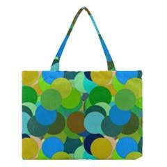 Green Aqua Teal Abstract Circles Medium Tote Bag