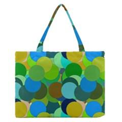 Green Aqua Teal Abstract Circles Medium Zipper Tote Bag