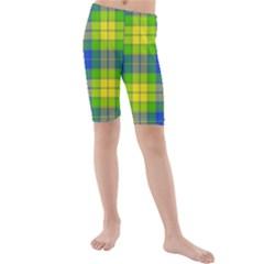 Spring Plaid Yellow Kids  Mid Length Swim Shorts