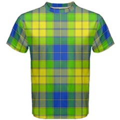 Spring Plaid Yellow Men s Cotton Tee