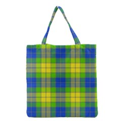 Spring Plaid Yellow Grocery Tote Bag
