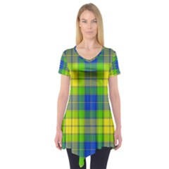 Spring Plaid Yellow Short Sleeve Tunic