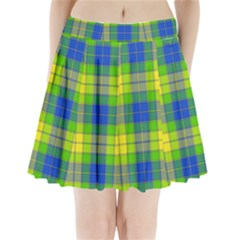 Spring Plaid Yellow Pleated Mini Skirt