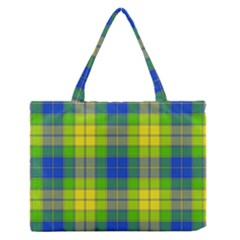 Spring Plaid Yellow Medium Zipper Tote Bag