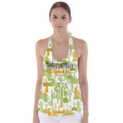 Angerine Blenko Glass Babydoll Tankini Top