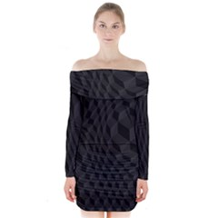 Pattern Dark Texture Background Long Sleeve Off Shoulder Dress