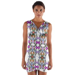 Floral Ornament Baby Girl Design Wrap Front Bodycon Dress