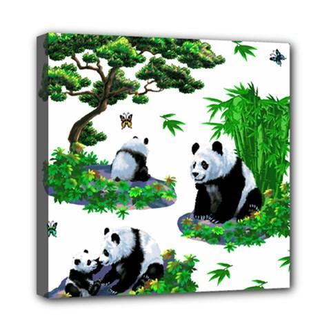 Cute Panda Cartoon Mini Canvas 8  x 8